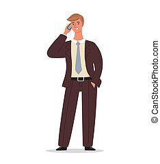 Businessman is standing and talking on the phone. Office worker is conversation on a smartphone. Business man character design isolated on white background, vector cartoon illustration