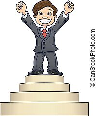 Businessman is standing on pedestal 2