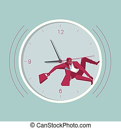 Businessman is surfing in the clock. Isolated on blue background.