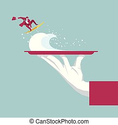 Businessman is surfing in the tray. Isolated on blue background.