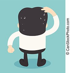 businessman is thinking. Scratch head . Vector illustration in cartoon style