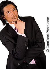 Businessman is thinking - Young indonesian man in a business...