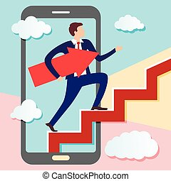 Businessman is walking from screen of smart phone up stairs with arrow pointing along his path under his arm. Concept of charismatic digital marketer going to his intended goal.