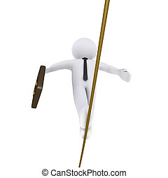 Businessman is walking on a tightrope