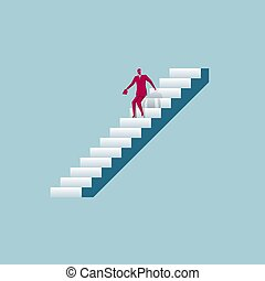 Businessman is walking on the stairs. The background is blue.