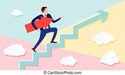 Businessman is walking up the stairs with an arrow pointing along his path under his arm. Concept of a charismatic man going to his intended goal.