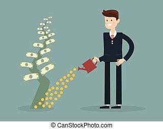 Businessman is watering a tree of money. Increase revenue,...