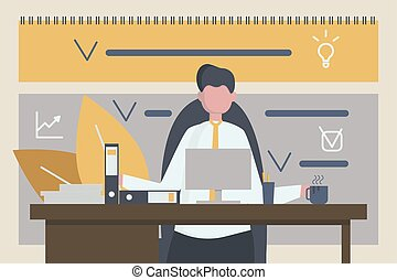 Businessman is working at the office with calendar on the background.