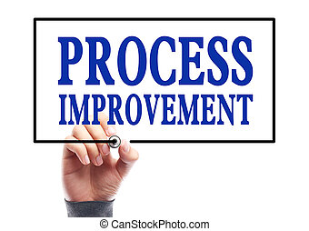 Businessman is writing Process improvement concept on transparent white board.