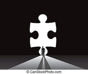 Businessman jigsaw puzzle door