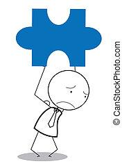 businessman jigsaw sad