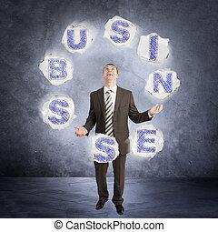 Businessman juggling word business