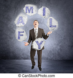 Businessman juggling word family