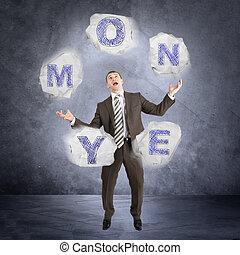 Businessman juggling word money