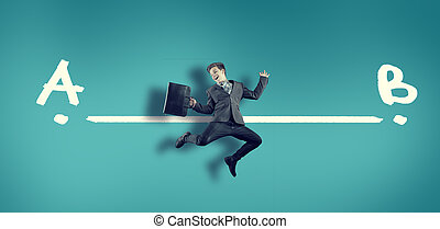 Businessman jump between point a to point b
