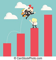 businessman Jump flying of Growth Chart To success