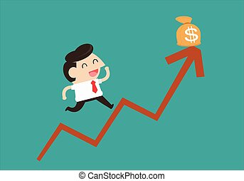 Businessman jump in a Growth