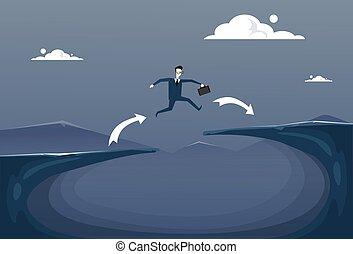 Businessman Jump Over Cliff Gap Mountain To Success Business Man Risk Concept