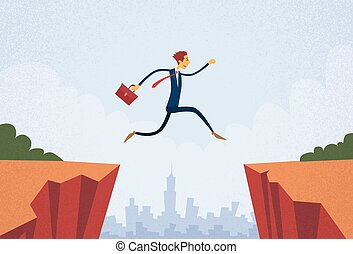 Businessman Jump Over Cliff Gap Mountain Flat Retro Vector...