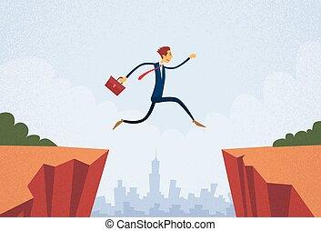 Businessman Jump Over Cliff Gap Mountain Flat Retro Vector...