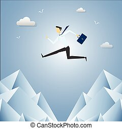 Businessman Jump Over Cliff Gap Mountain.
