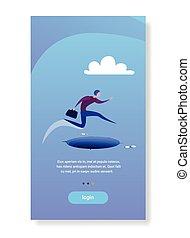 businessman jump over gap abyss business man risk concept flat vertical copy space