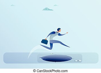Businessman Jump Over Gap To Success Business Man Risk Concept
