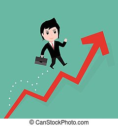 Businessman jump over growing chart, cartoon EPS10