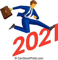 Businessman jump over number 2021. Man crosses the ...