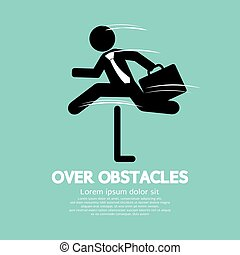 Businessman Jump Over The Obstacles