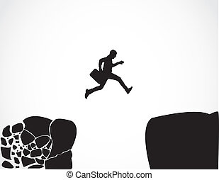 Businessman with a briefcase jumping from a crumbing mountain rock to another safer rock Concept design vector illustration art of reaching safety from an risky unsafe business environment