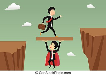 businessman jump through the gap supported by super businessman. vector illustration.