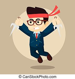 businessman jump with weapon