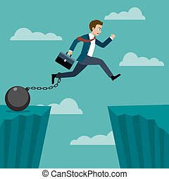 Businessman jumped over a cliff.