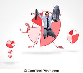 Businessman jumping against a graph - Businessman jumping...