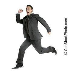Businessman jumping at studio, full on white
