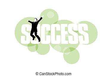 Businessman jumping for joy against success background