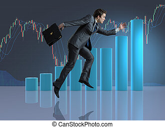 Businessman jumping in business concept