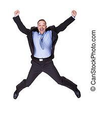 Businessman Jumping In Joy