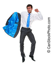 Photo of a businessman jumping in the air holding his suit jacket, isolated on a white background