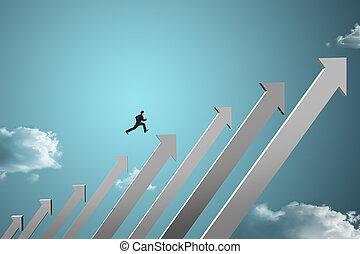 businessman jumping on chart