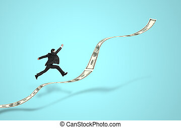 businessman jumping on growth money trend