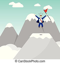 Businessman Jumping On Pinnacle Of The Mountain - Business...