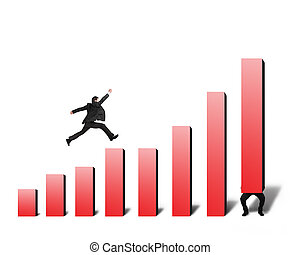 Businessman jumping on red bar chart with another lift one