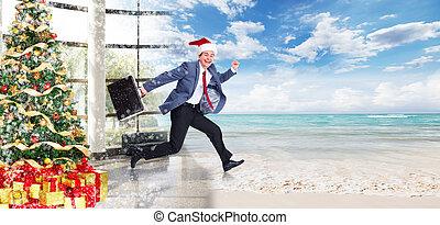 Businessman jumping on the water. Christmas season.