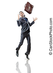 Businessman jumping on white