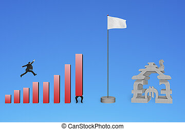 Businessman jumping over bar charts to flag with currency house