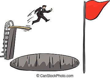businessman jumping over big hold to reach red flag vector illustration sketch doodle hand drawn with black lines isolated on white background