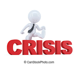 Businessman jumping over 'crisis' sign. Isolated. Contains...