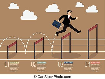 Businessman jumping over higher hurdle infographic. Business...